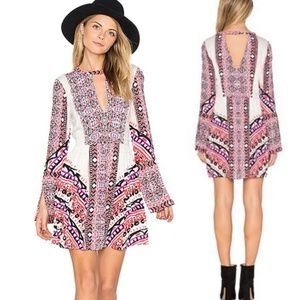 Free People Tegan Border Printed Pink Mini Dress 4